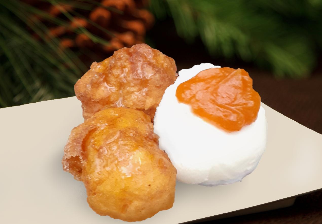 Sonhos de Natal com gelado de requeijão e doce de abóbora