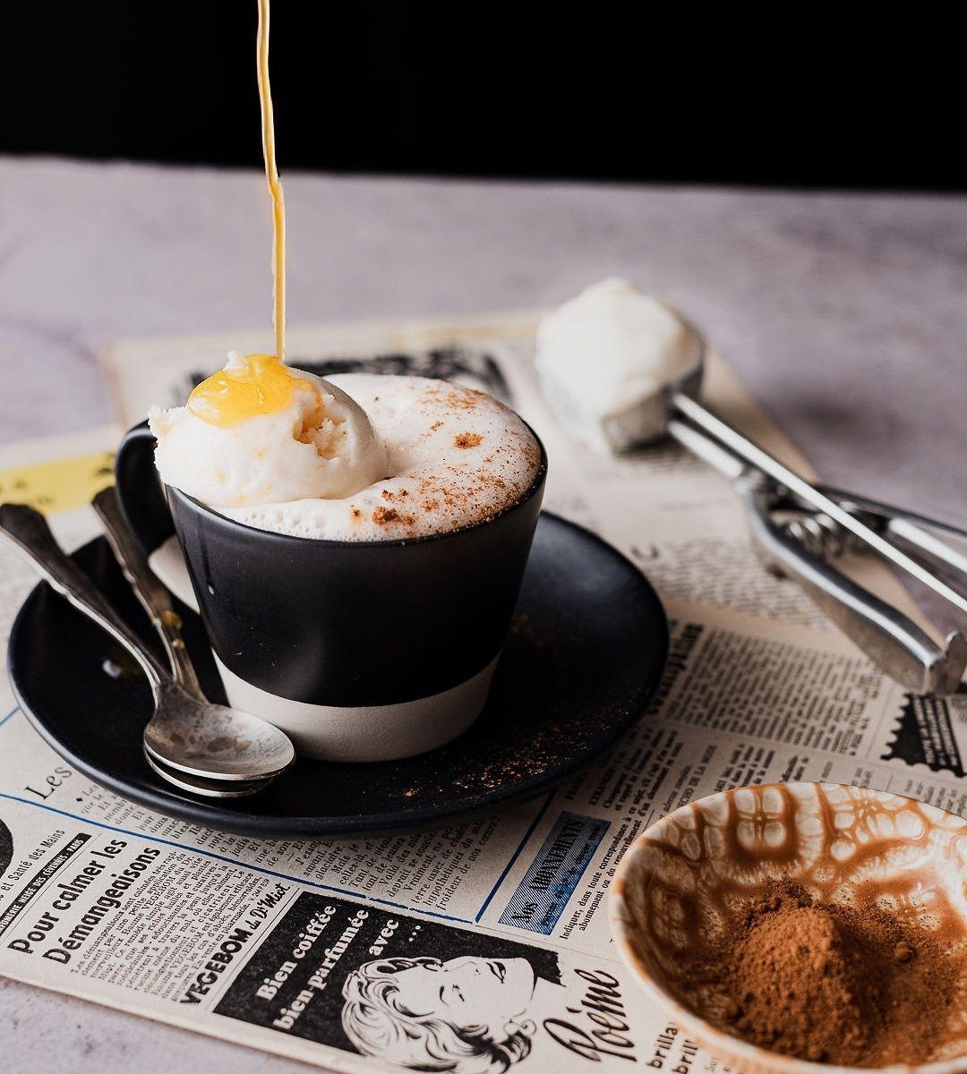Latte de Abóbora e Especiarias com gelado de Requeijão com Doce de Abóbora