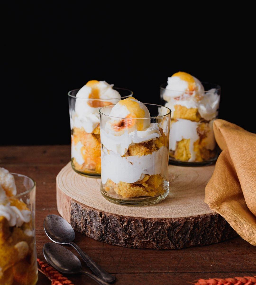 Trifle com gelado de Requeijão com Doce de Abóbora