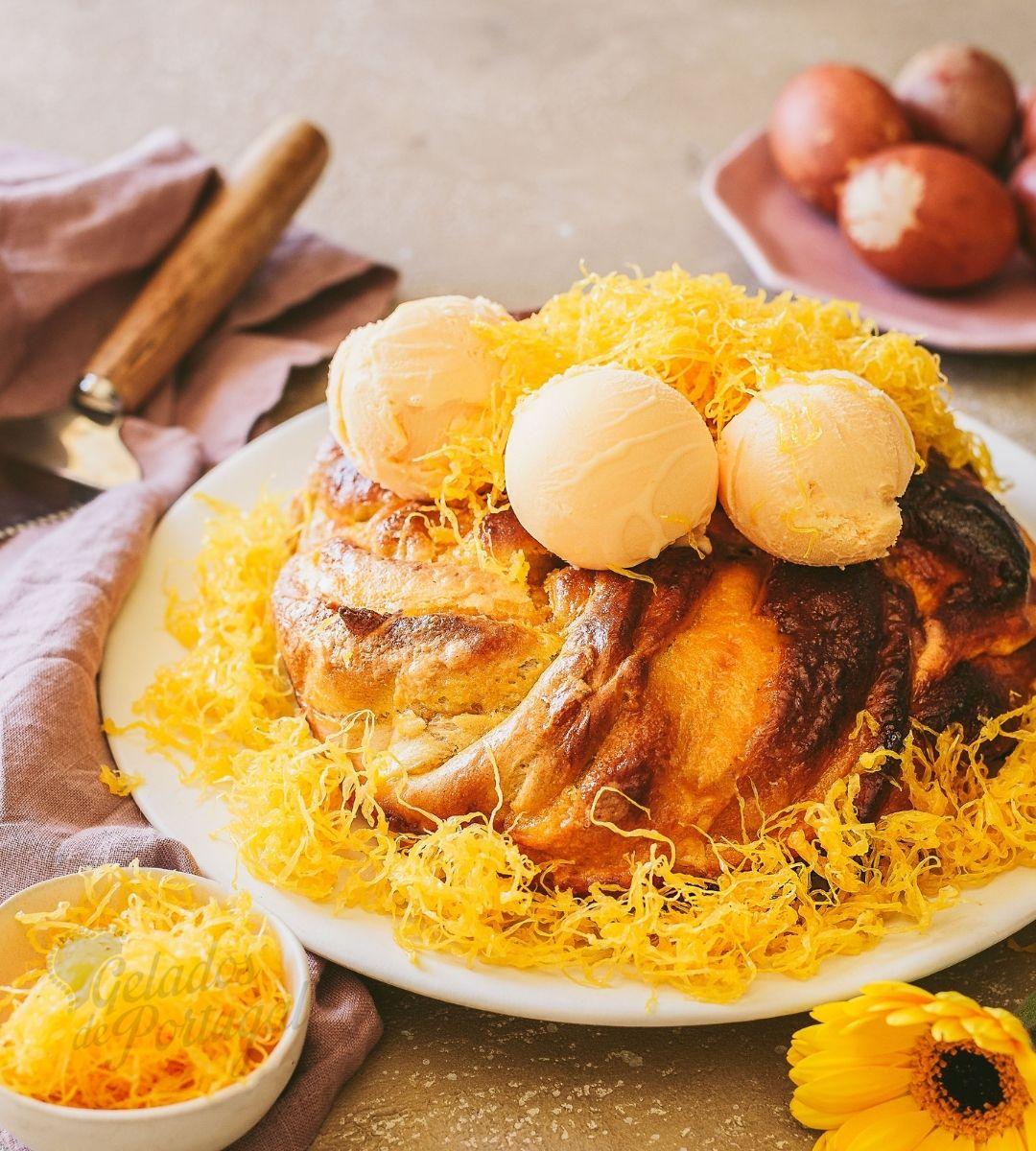 Folar da Páscoa com Creme de Ovos Moles de Aveiro